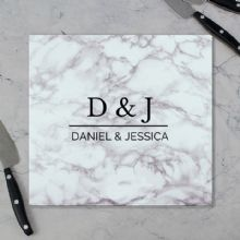Personalised Marble Effect Glass Chopping Board/Worktop Saver P080781